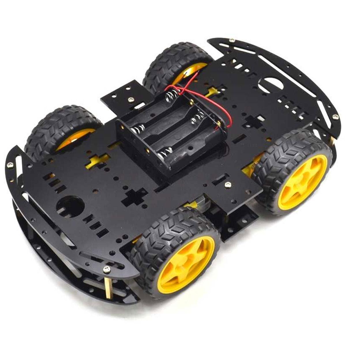 Kit Chassi 4WD 4 Rodas com Motores e Base Preta de Acrílico 3mm