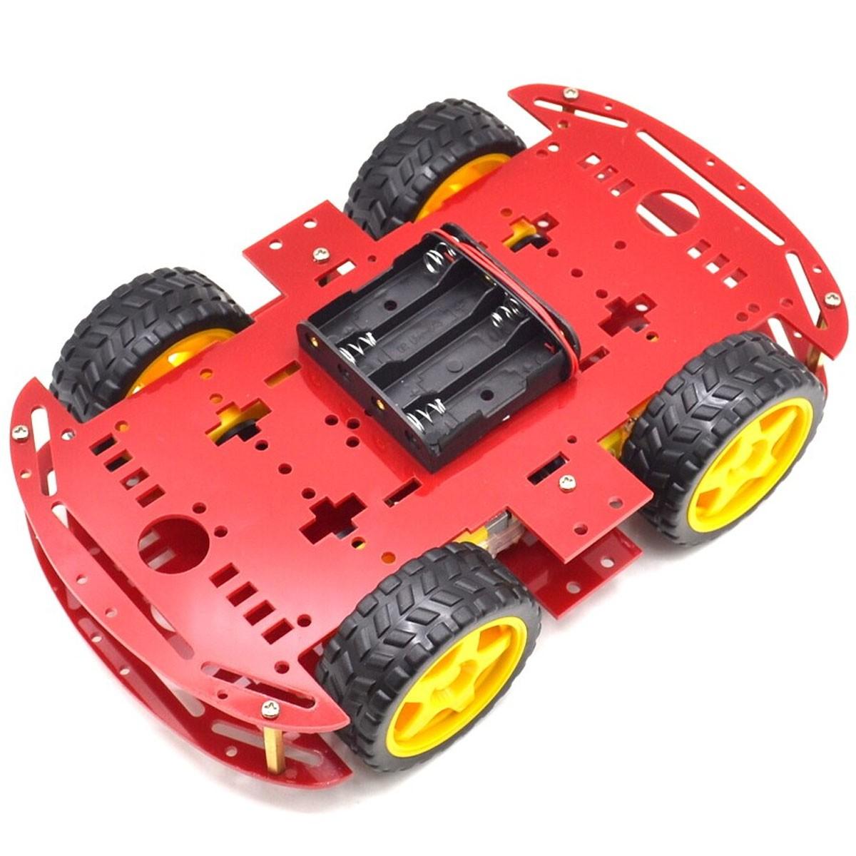 Kit Chassi 4WD 4 Rodas com Motores e Base Vermelha de Acrílico 3mm