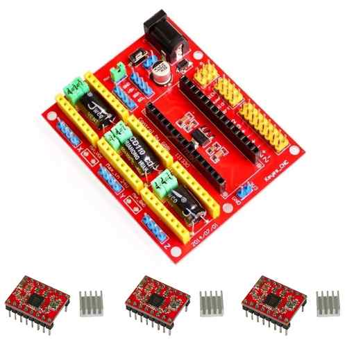 Kit Cnc Shield V4 Nano + 3x Drivers A4988 + 3x Dissipadores