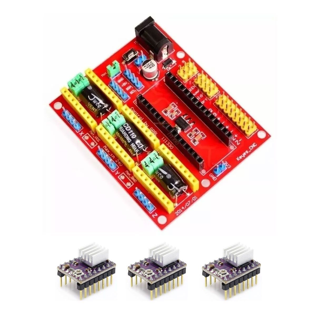 Kit Cnc Shield V4 Nano + 3x Drivers DRV8825 + 3x Dissipadores