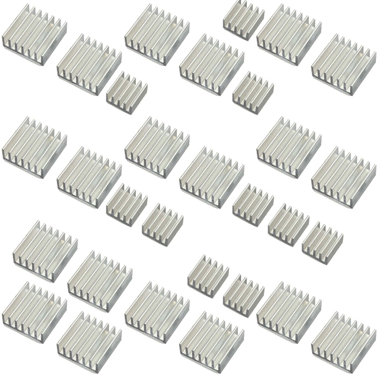 Kit com 10 conjuntos de 3 Dissipadores de Calor compatíveis com Raspberry Pi Lm2596 Arduino Esp Dc Dc