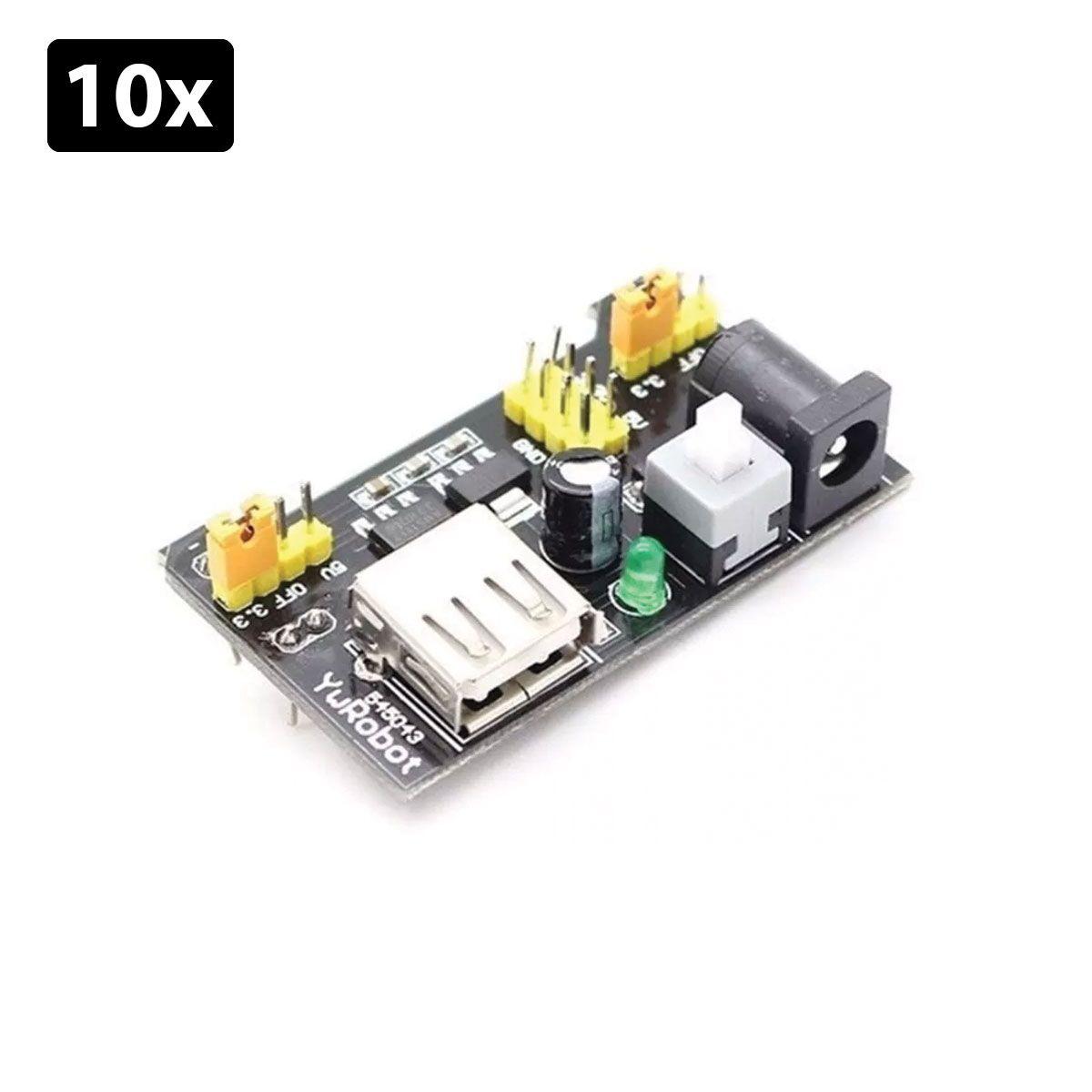 Kit com 10x Fonte de Alimentação 3.3V 5V para Protoboard