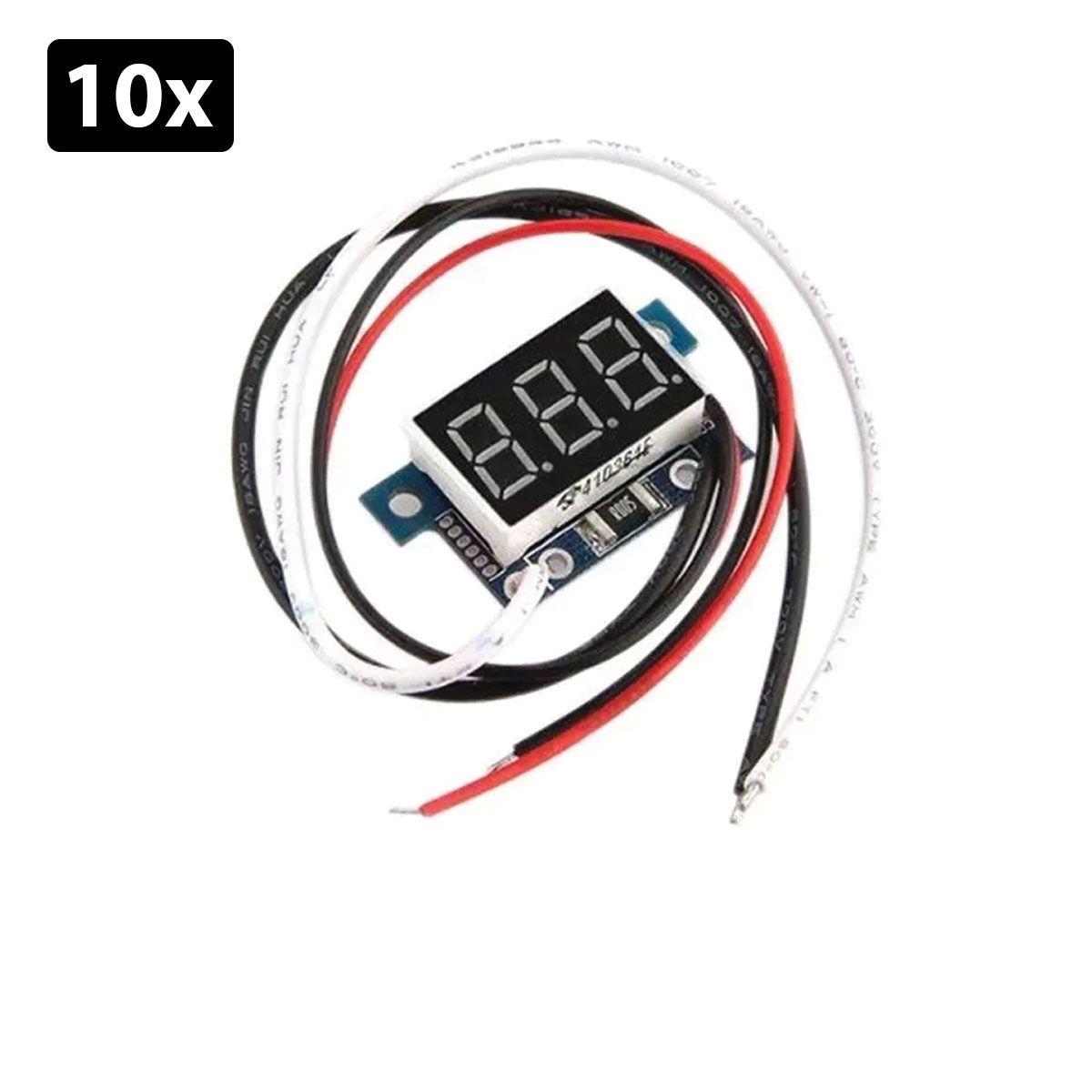 Kit com 10x Mini Amperímetro Digital 0 a 5A com Display Indicador Vermelho
