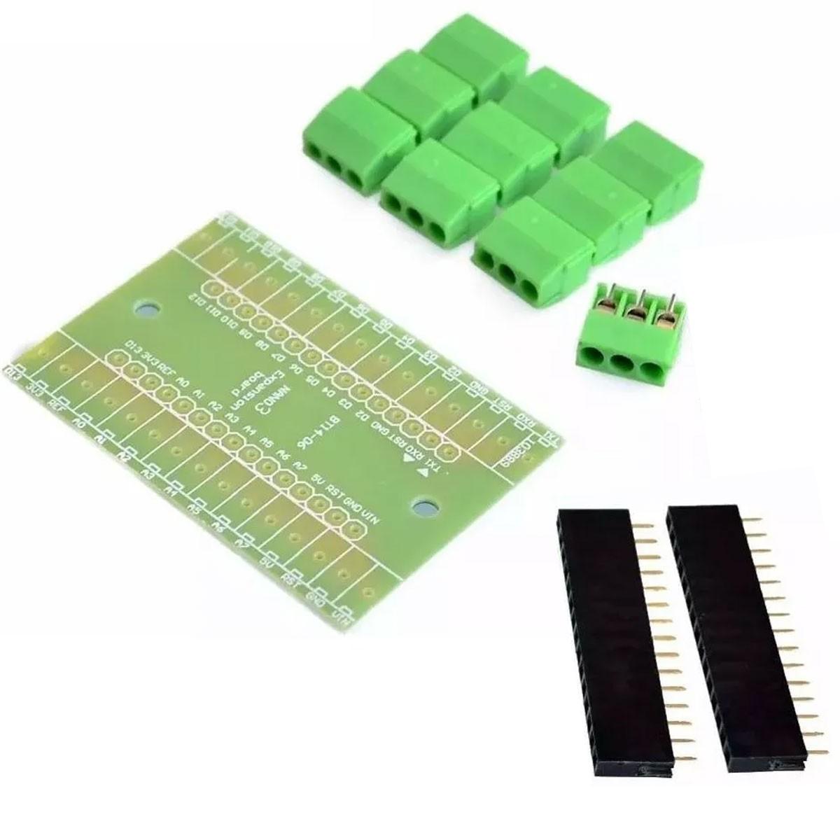 Kit com 10x Placa Borne Nano Terminal Adaptador - Compatíveis com Arduino Nano