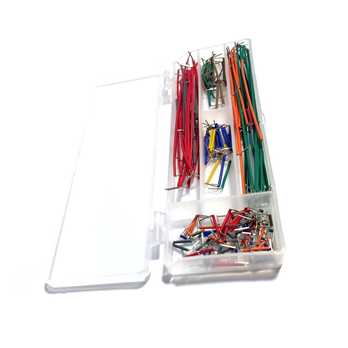 Kit com 140 Jumpers / Cabos AWG Tipo U para Protoboard