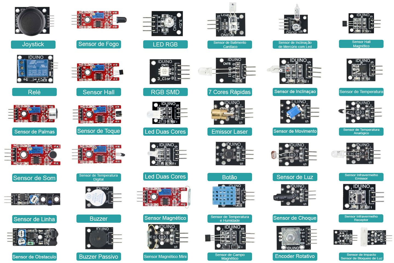 Kit com 37 Módulos e Sensores