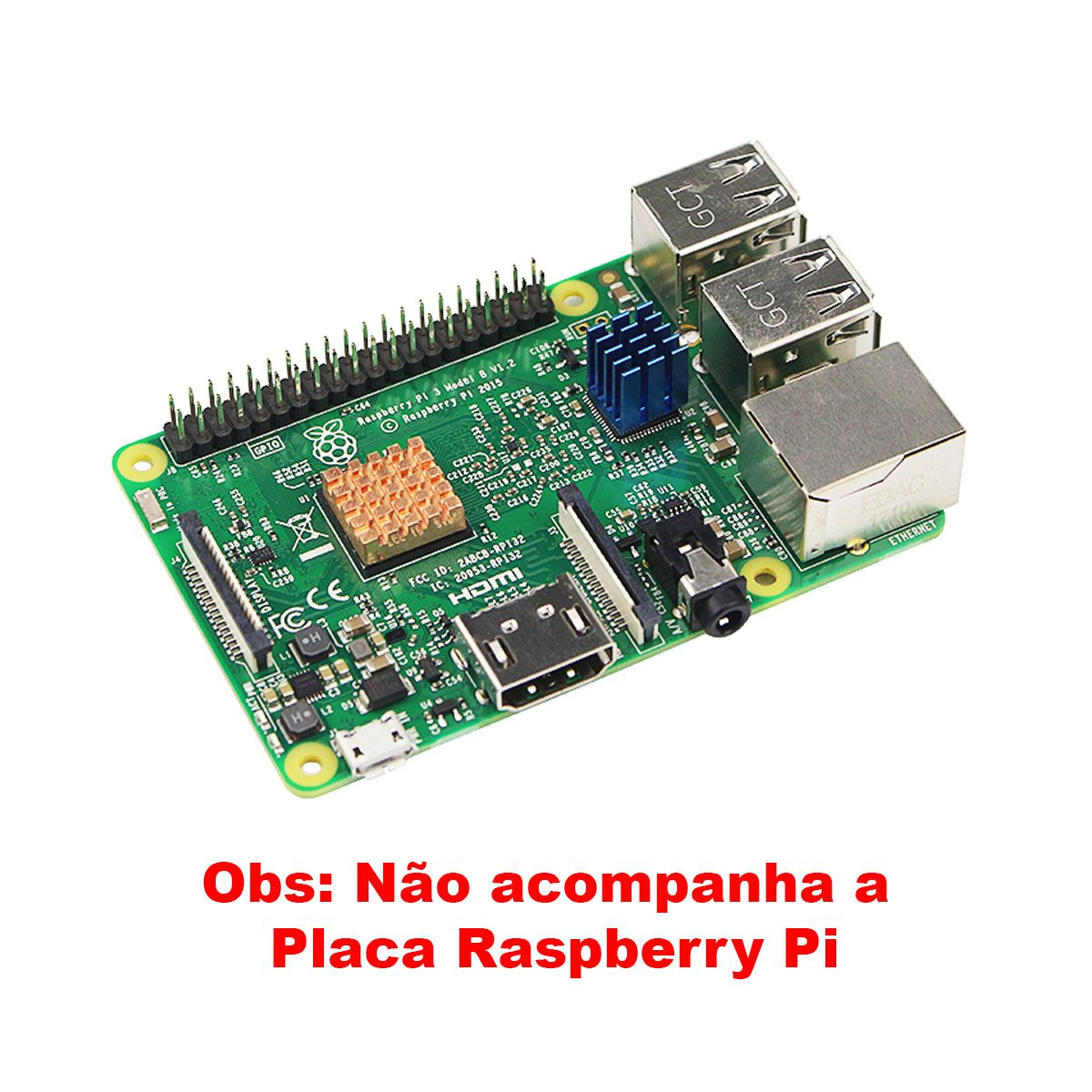 Kit com 3 Dissipadores + Mini Cooler 30x30 p/ Raspberry Pi2 Pi3 Pi4 5v
