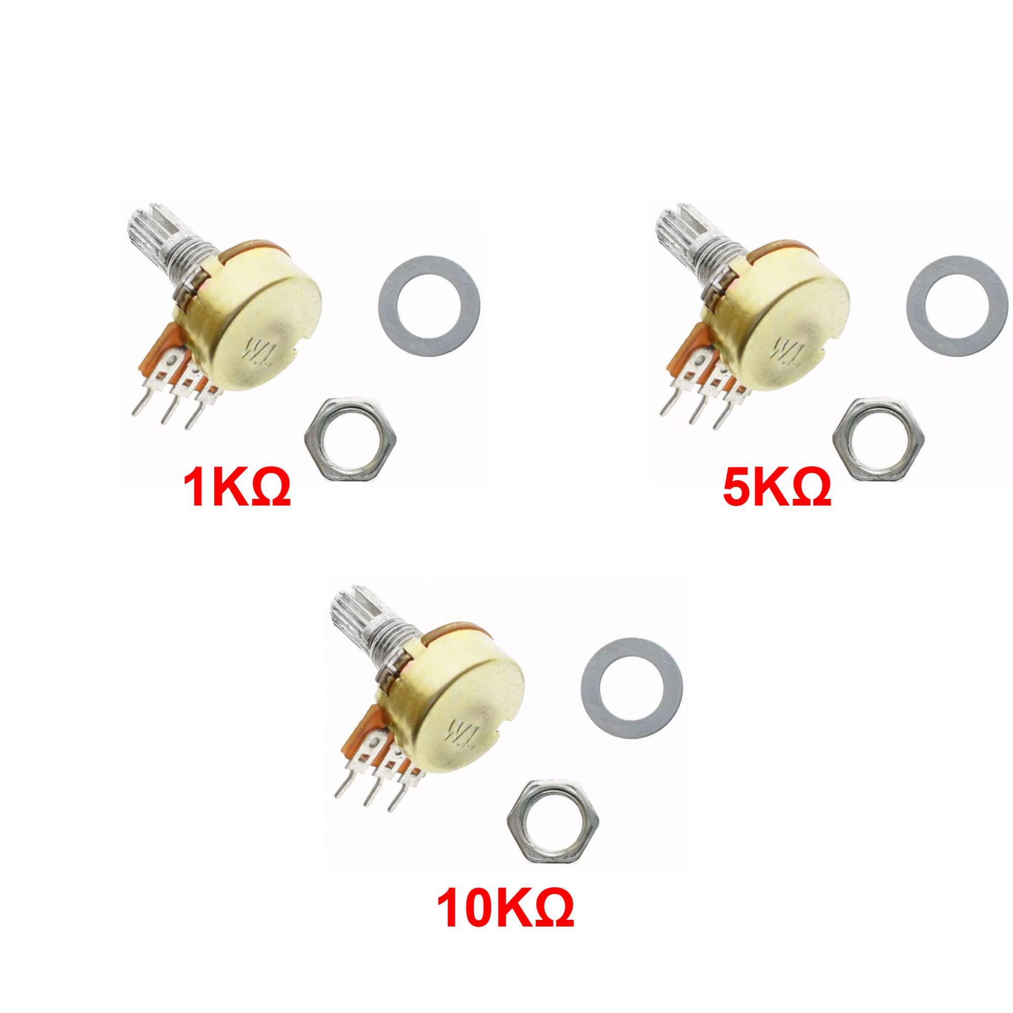 Kit com 3 Potenciômetro Linear Estriado: 1x Potenciômetro de 1k, 1x Potenciômetro de 5k e 1x Potenciômetro de 10k