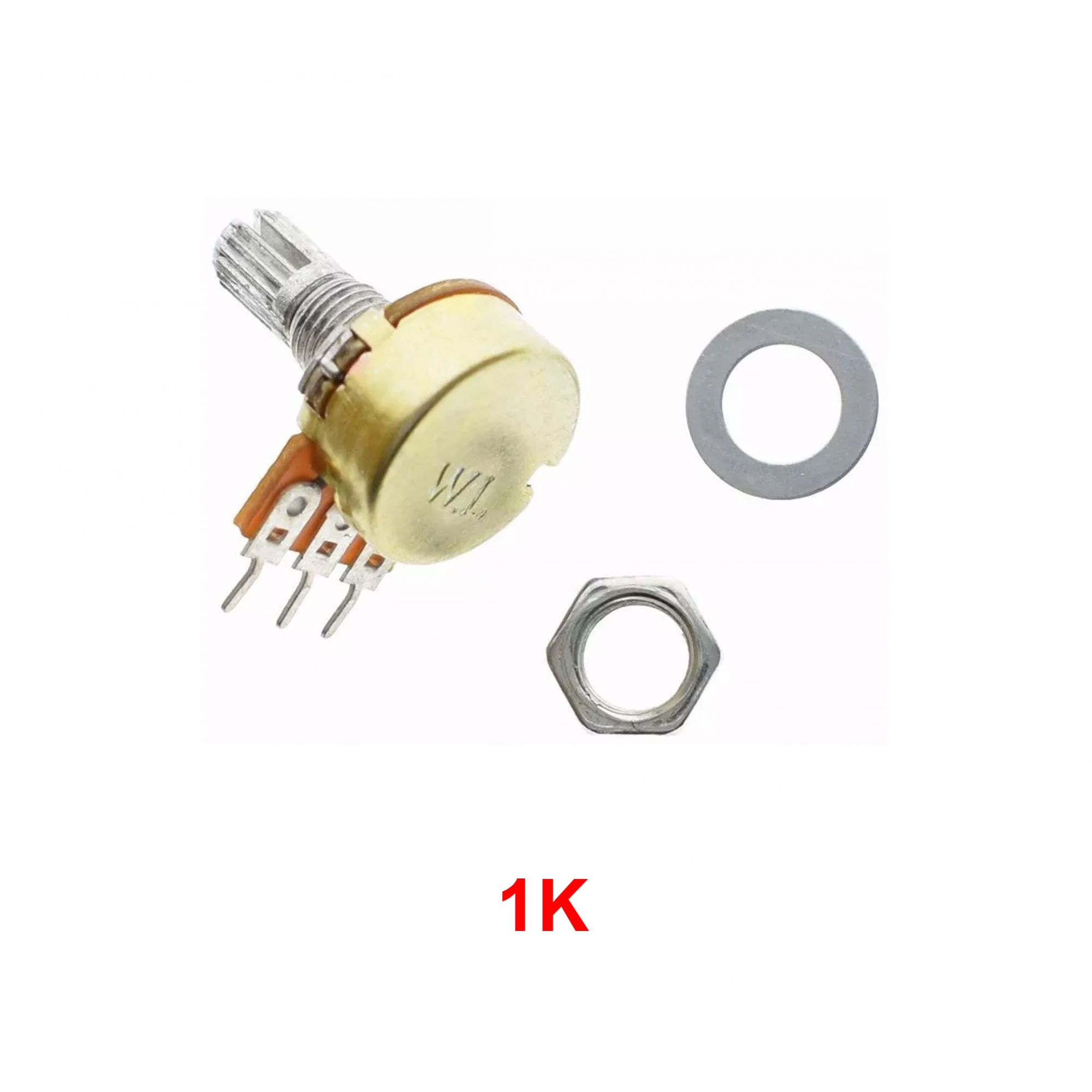 Kit com 3 Potenciômetro Linear Estriado: 1k, 5k e 10k.