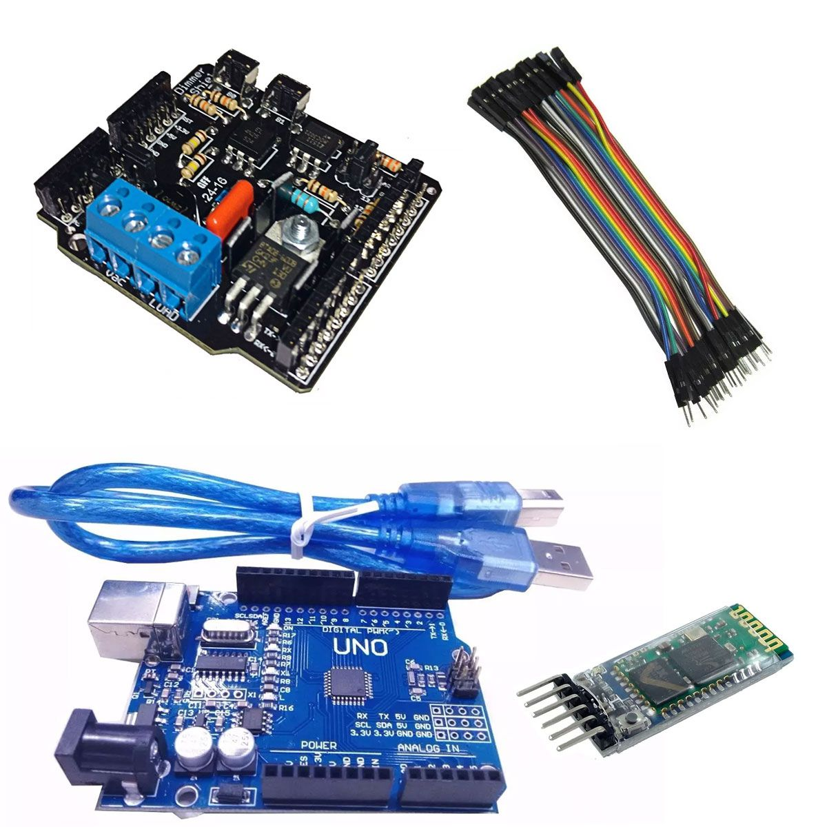 Kit com Dimmer Shield, Bluetooth Hc-05, Jumpers Macho x Fêmea, Placa Uno SMD R3 e Cabo para Arduino