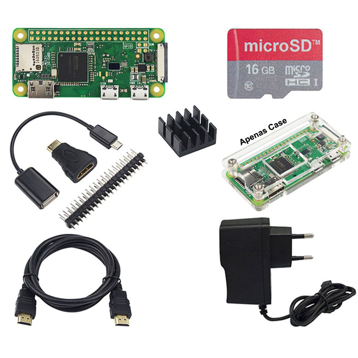 Kit com Raspberry Pi Zero W H, Fonte, Case, Cartão 16GB, Cabo HDMI, Adaptador HDMI e USB