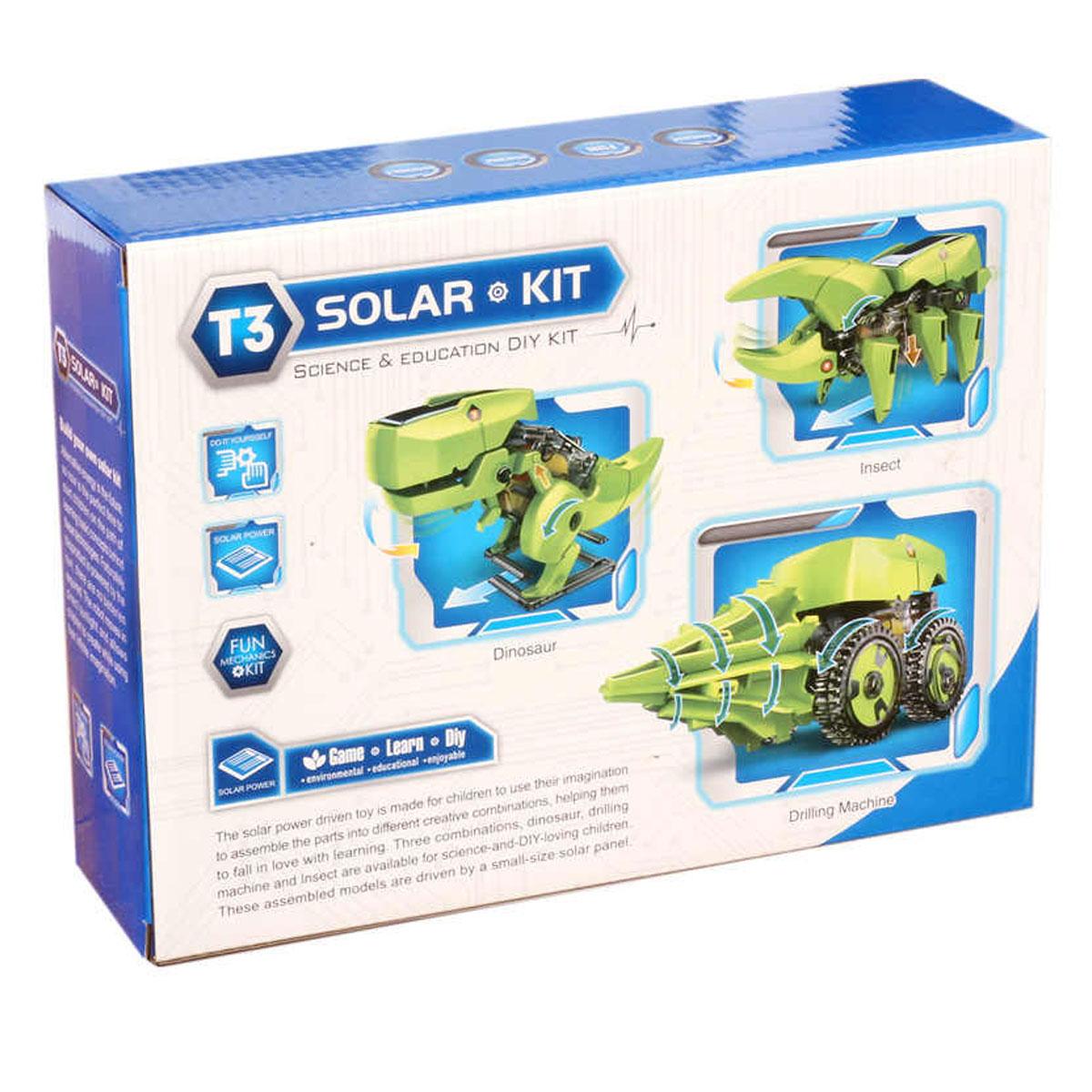 Kit Educacional Robô Dinossauro Solar T3 - 3 EM 1 - Fácil de Montar