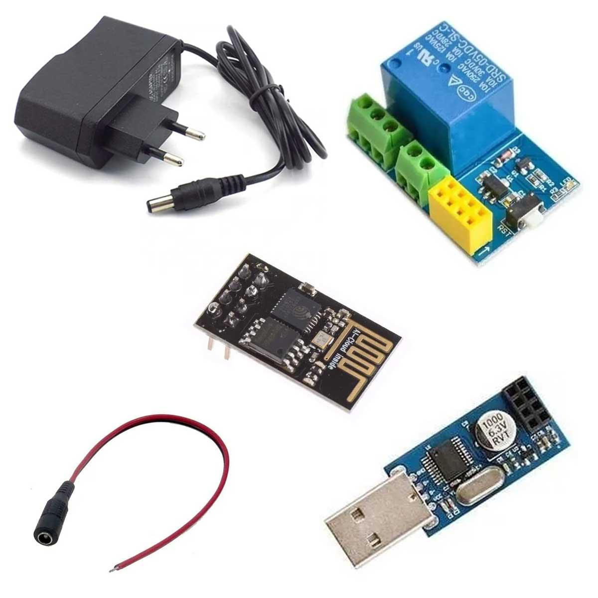 Kit Esp-01 Automação Iot com Módulo Relé + Fonte + Conversor USB Serial e Tutorial