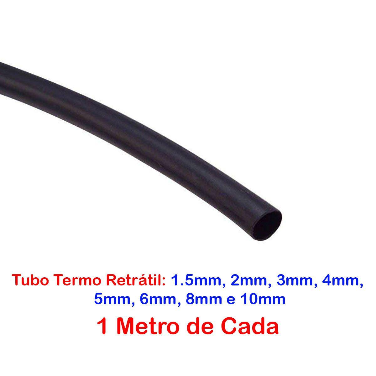 Kit: Espaguete isolante / Tubo termo retrátil 1 metro de cada: 1.5mm, 2mm, 3mm, 4mm, 5mm, 6mm, 8mm e 10mm
