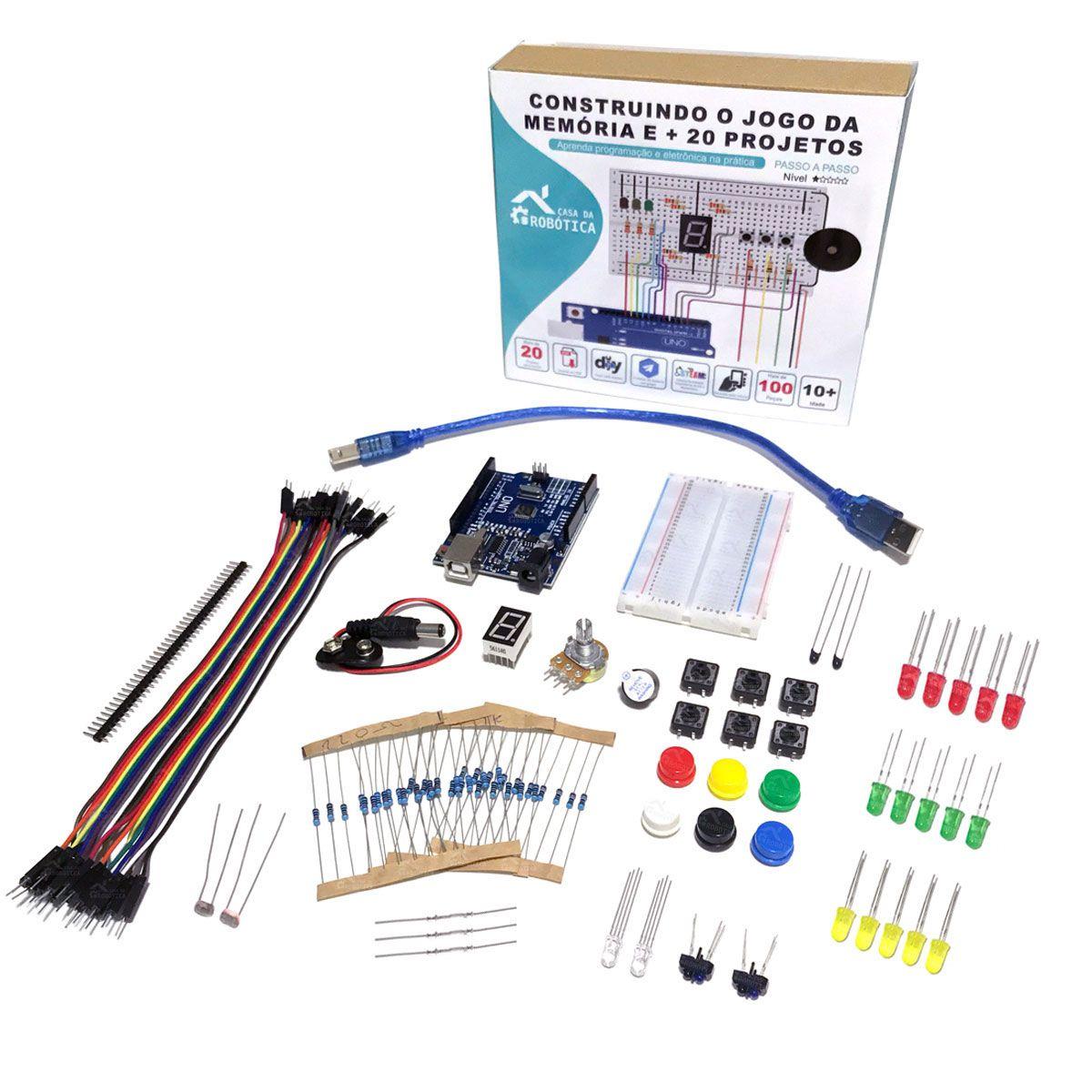 Kit Iniciante para Arduino com Tutorial - Construindo o Jogo da Memória e + 20 Projetos!