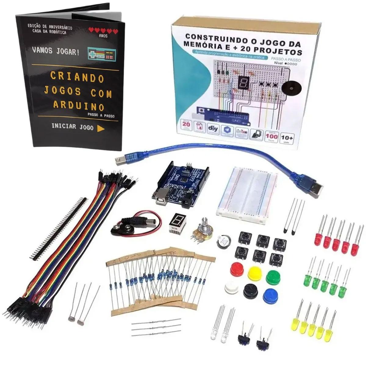 Kit Iniciante para Arduino com Tutorial Digital - Construindo o Jogo da Memória + Livro Físico: Criando Jogos com Arduino