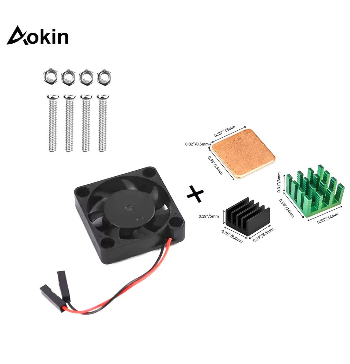 Kit Mini Cooler 30 x 30 x 7mm Raspberry + 3x Dissipadores