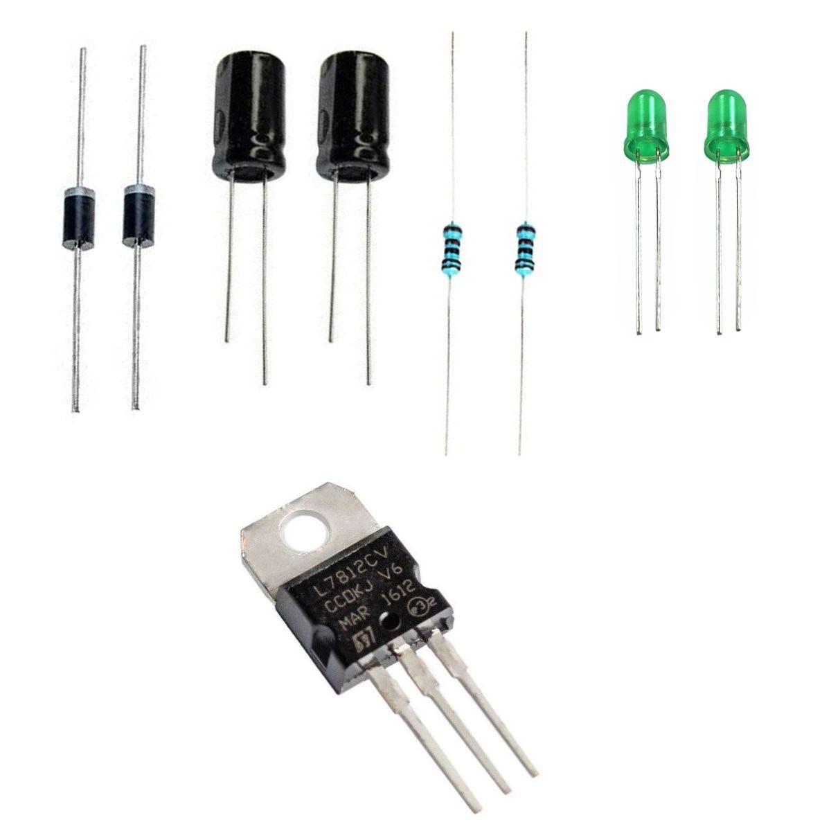 Kit para Montagem de Fonte 12v com Diodo, Capacitor, Led e Resistor