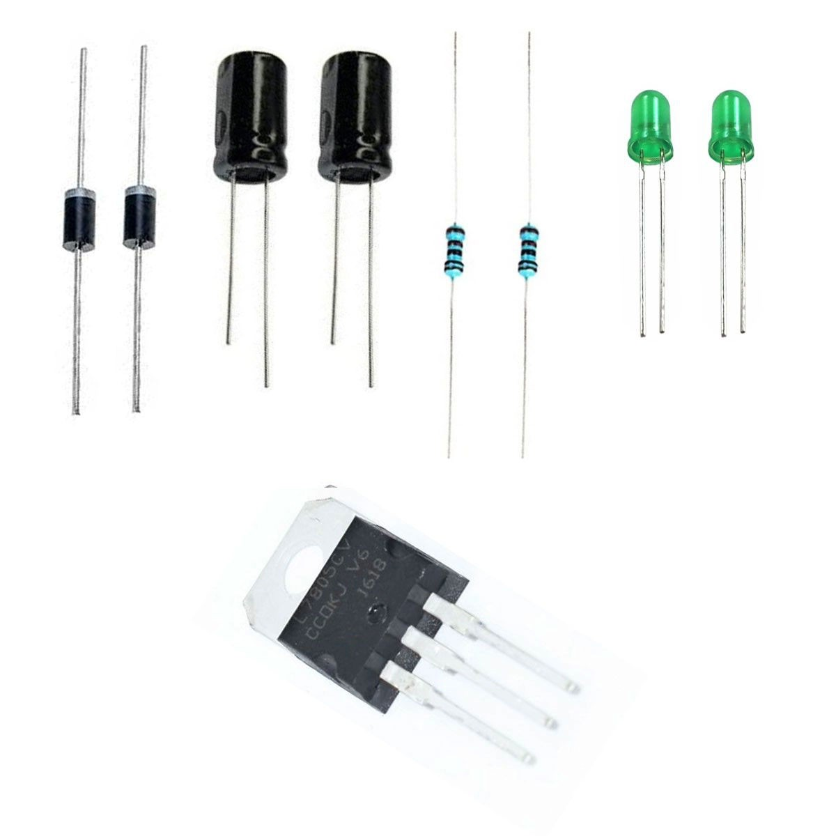 Kit para Montagem de Fonte 5v com 7805, Diodo, Capacitor, Led e Resistor
