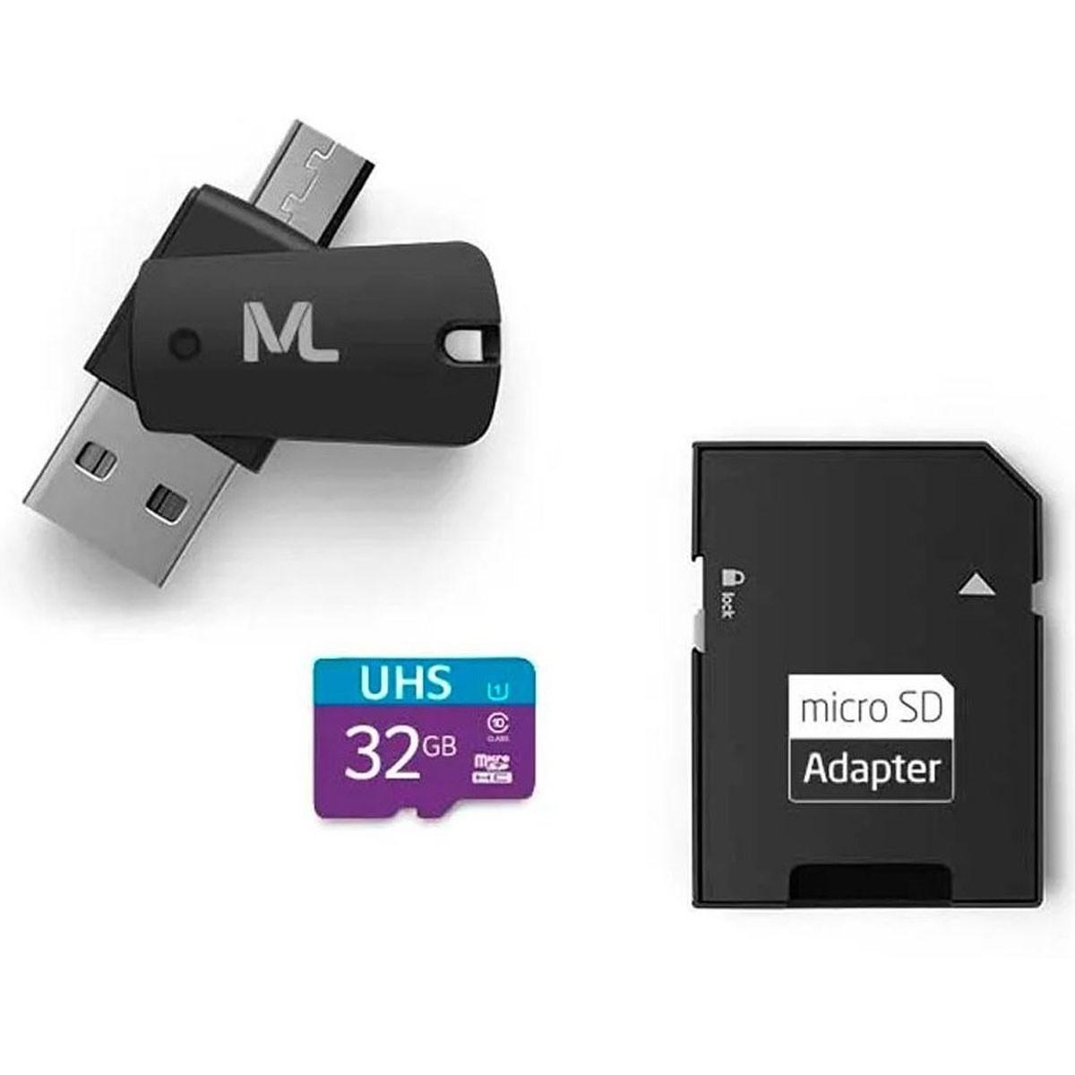 Kit Cartão de Memória + Adaptador Pen Drive OTG Micro SD 32GB Multilaser MC151