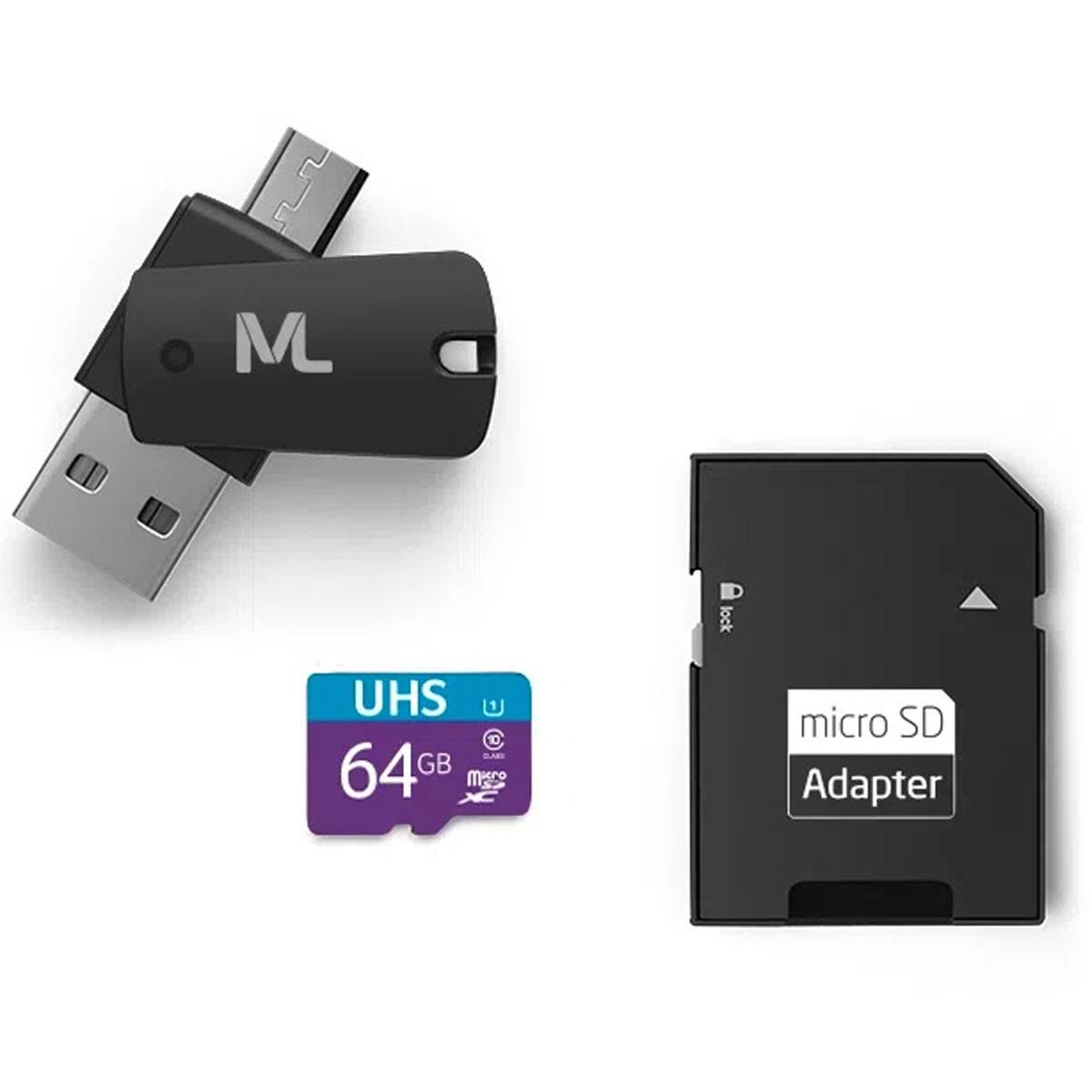 Kit Cartão de Memória + Adaptador Pen Drive OTG Micro SD 64GB Multilaser MC152