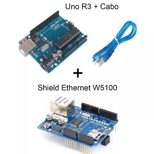 Kit Placa Uno R3 Atmega328 + Cabo + Shield Ethernet W5100