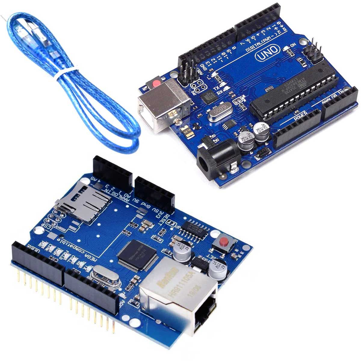 Kit Placa Uno R3 Atmega328 + Cabo + Shield Ethernet W5100