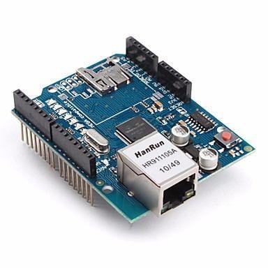 Kit Placa Uno SMD Atmega328 + Shield Ethernet W5100 + Cabo - Compatível com Arduino