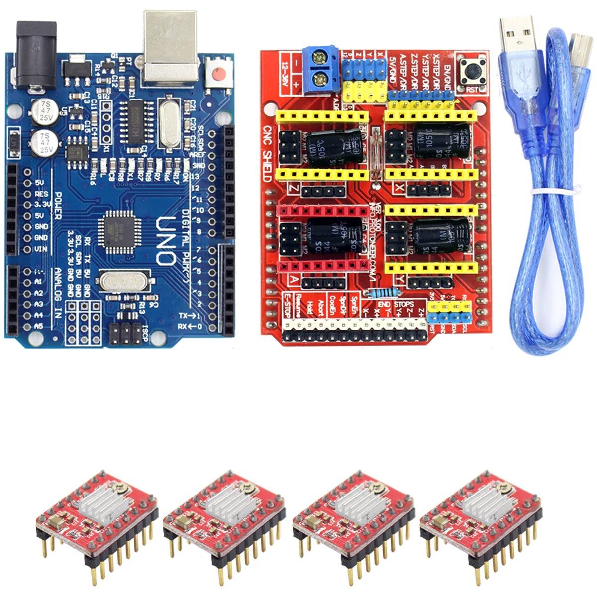 Kit Placa Uno SMD com Cabo para Arduino + Shield Cnc + 4x Drivers A4988 e Dissipadores