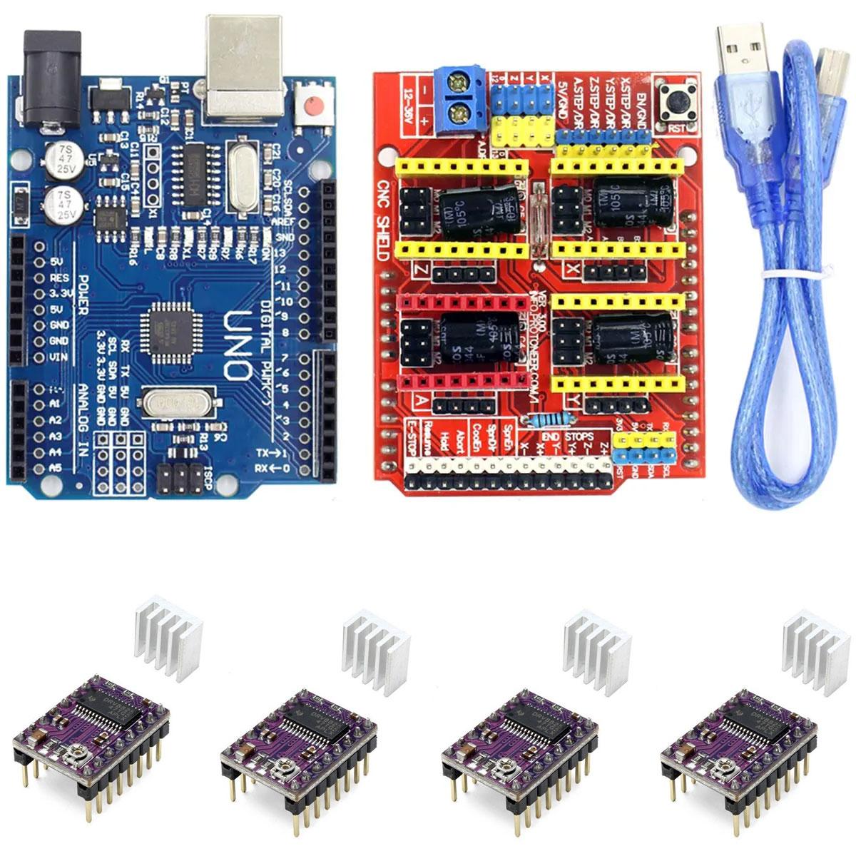 Kit Placa Uno SMD com Cabo para Arduino + Shield Cnc + 4x Drivers DRV8825 e Dissipadores