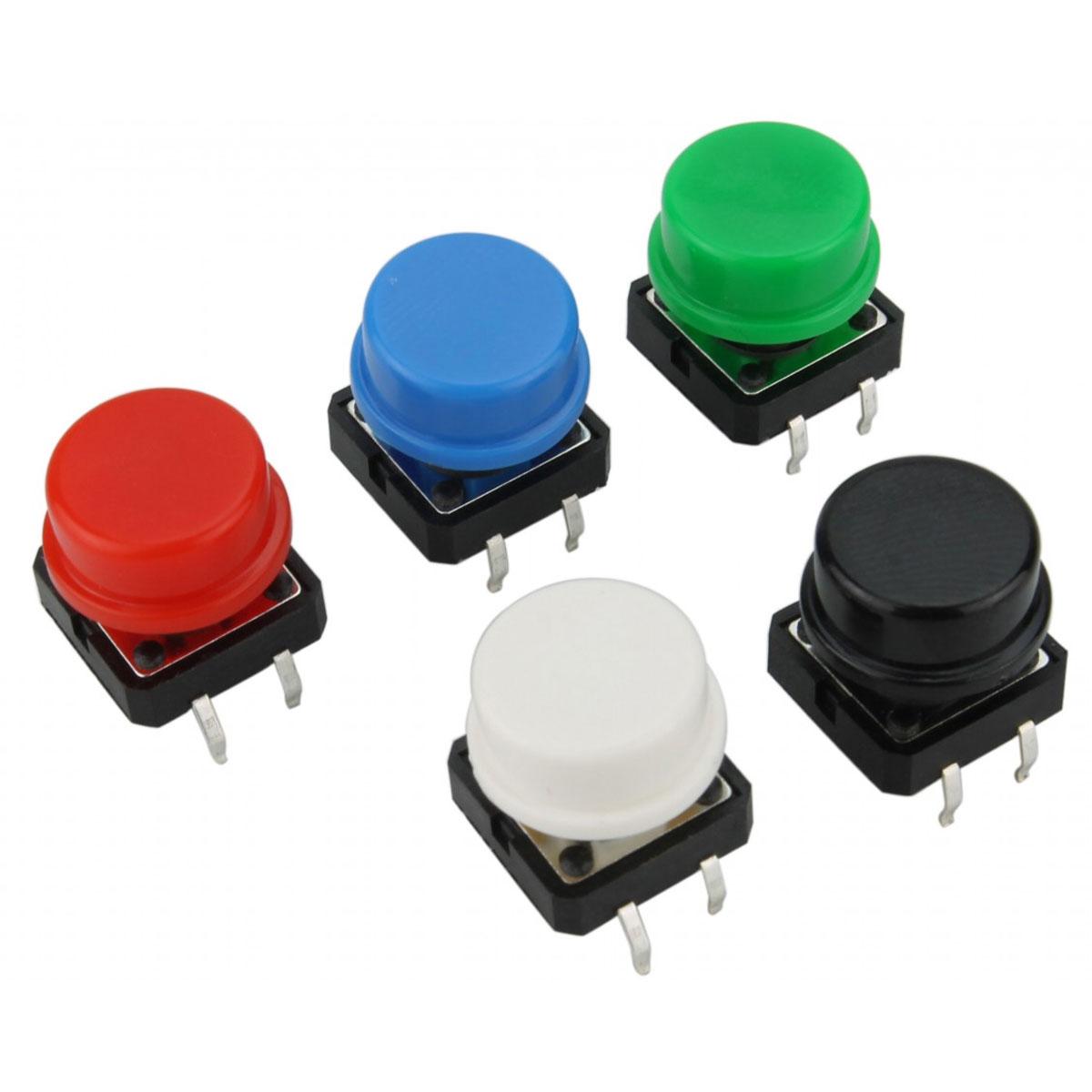 Kit Push Button 12x12 com Capas Coloridas 25 Unidades + Caixa