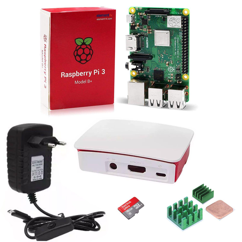 Kit Raspberry Pi 3 B+ com Fonte Bivolt, Case, Cartão de Memória 16GB e 3 Dissipadores
