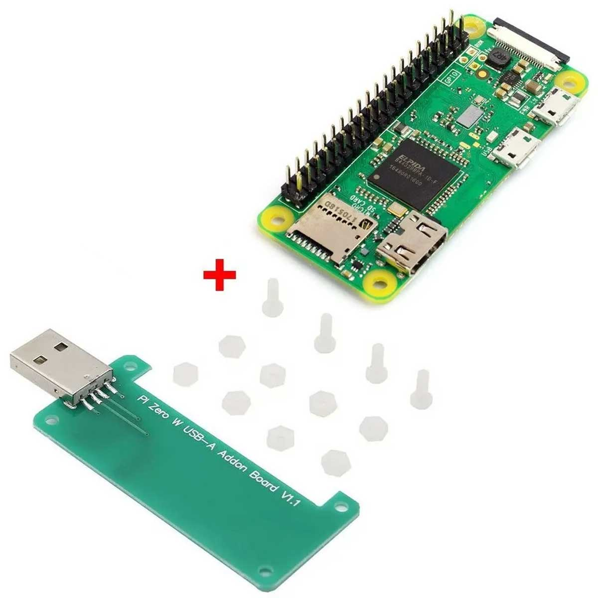 Kit: Raspberry Pi Zero W com Wifi e Bluetooth + Adaptador USB Tipo A para Raspberry Pi Zero