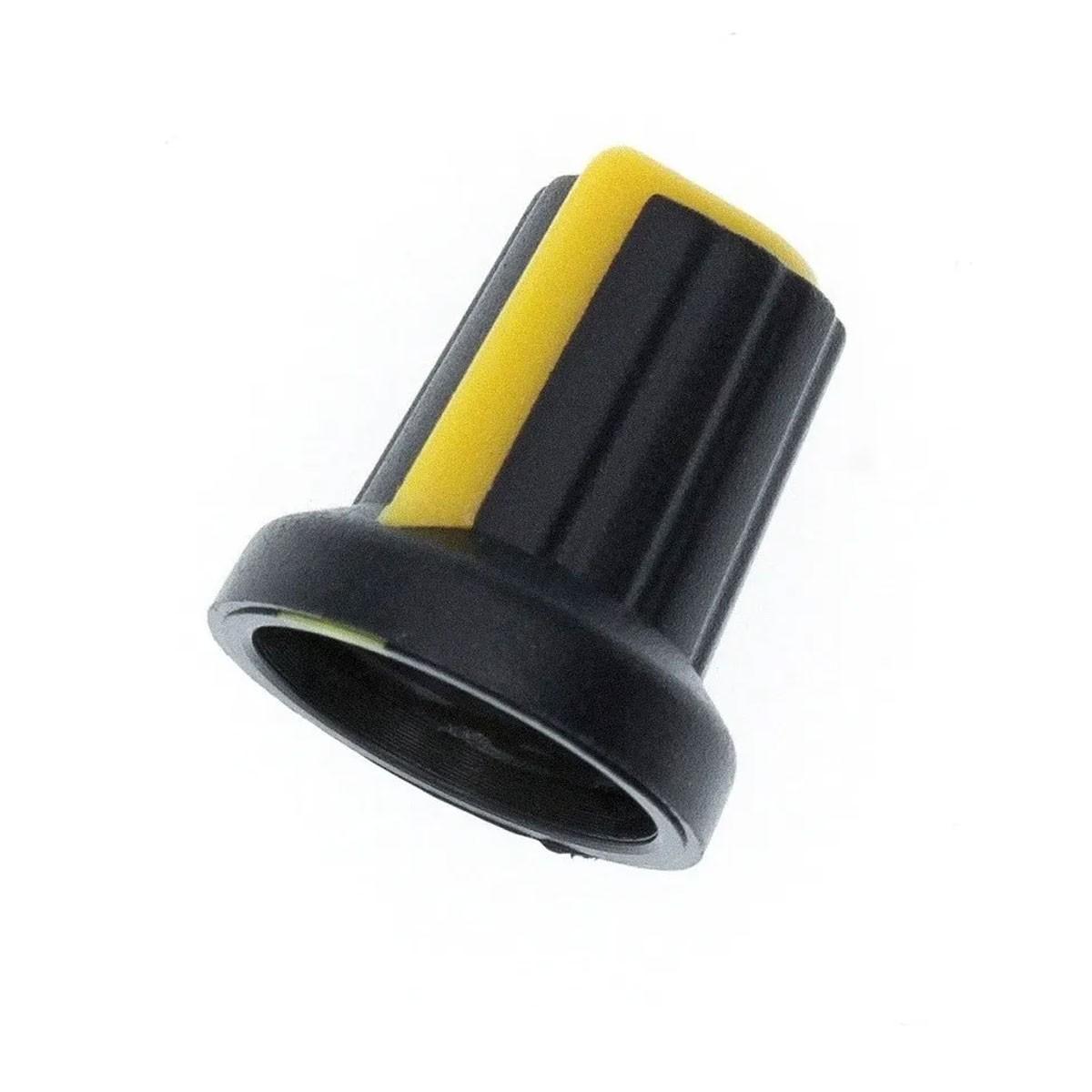 Knob para Potenciômetro Estriado 6mm Botão Volume - Amarelo