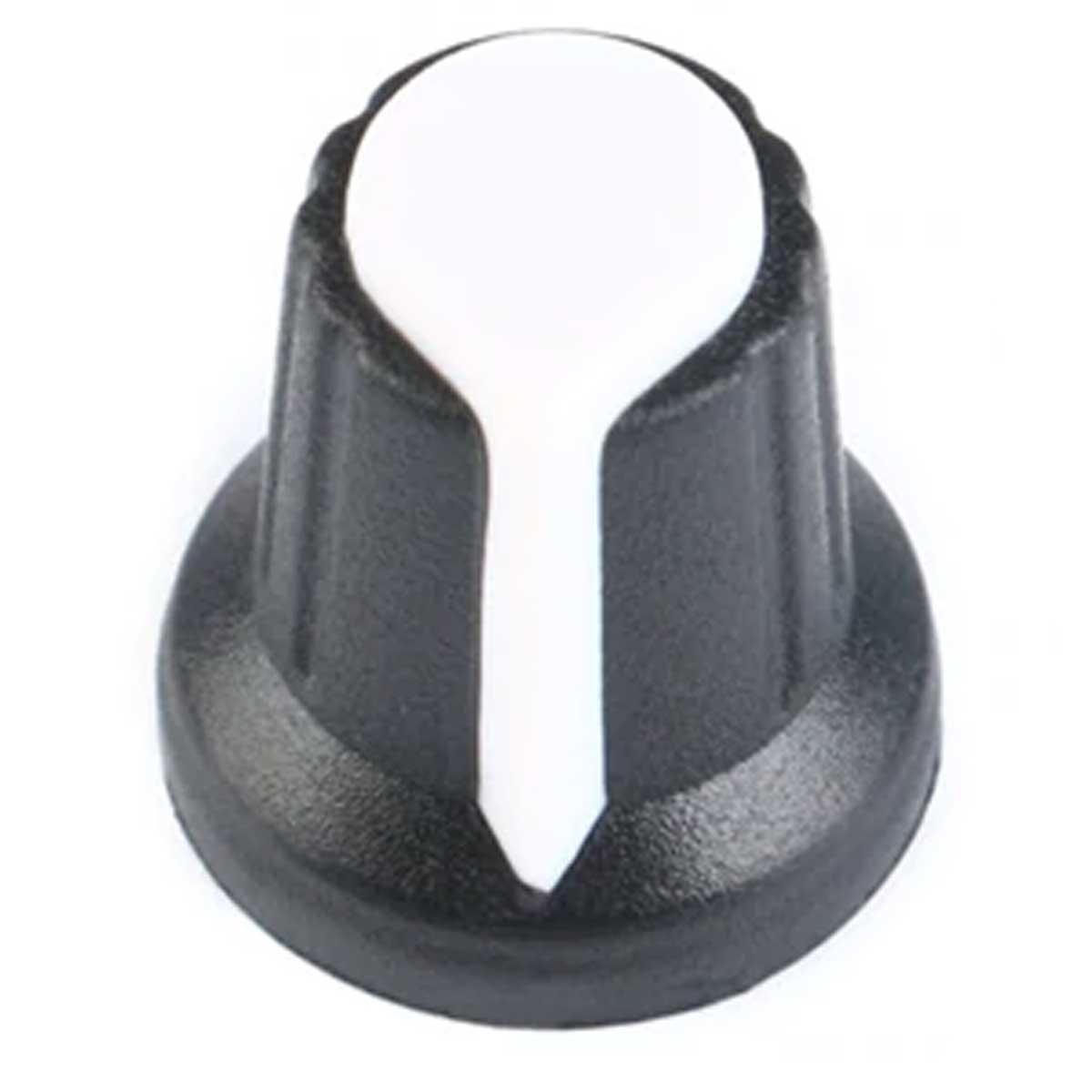 Knob para Potenciômetro Estriado 6mm Botão Volume - Branco