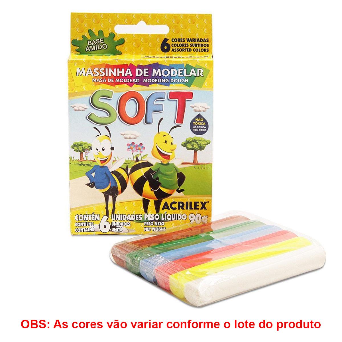 Massa de Modelar 6 Cores Sortidas 90g Soft Acrilex