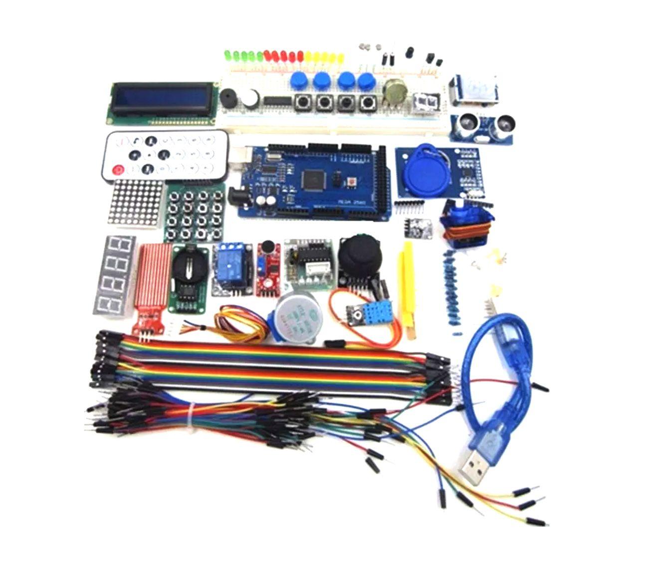 Mega Kit com Placa Mega, Protoboard 830 furos, Kit RFID e mais de 200 peças