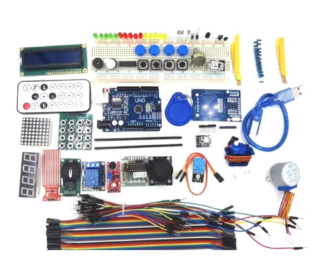 Mega Kit com Placa Uno, Protoboard 830 Furos, Kit RFID - Mais De 200 Pcs