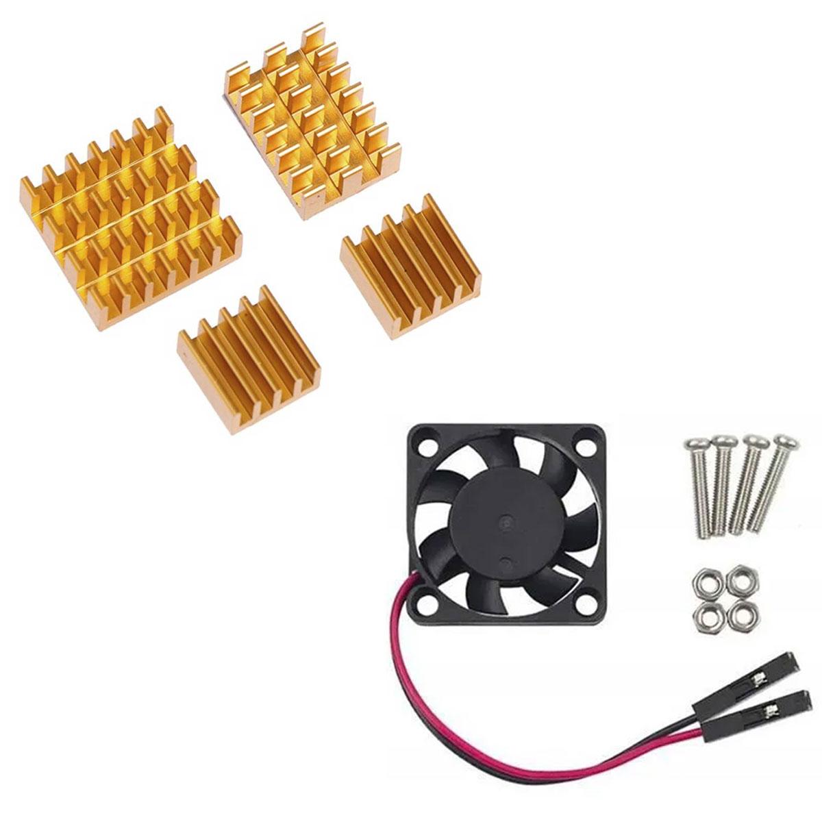 Mini Cooler 30 x 30 x 7mm 5v + 4 Dissipadores para Raspberry Pi 4