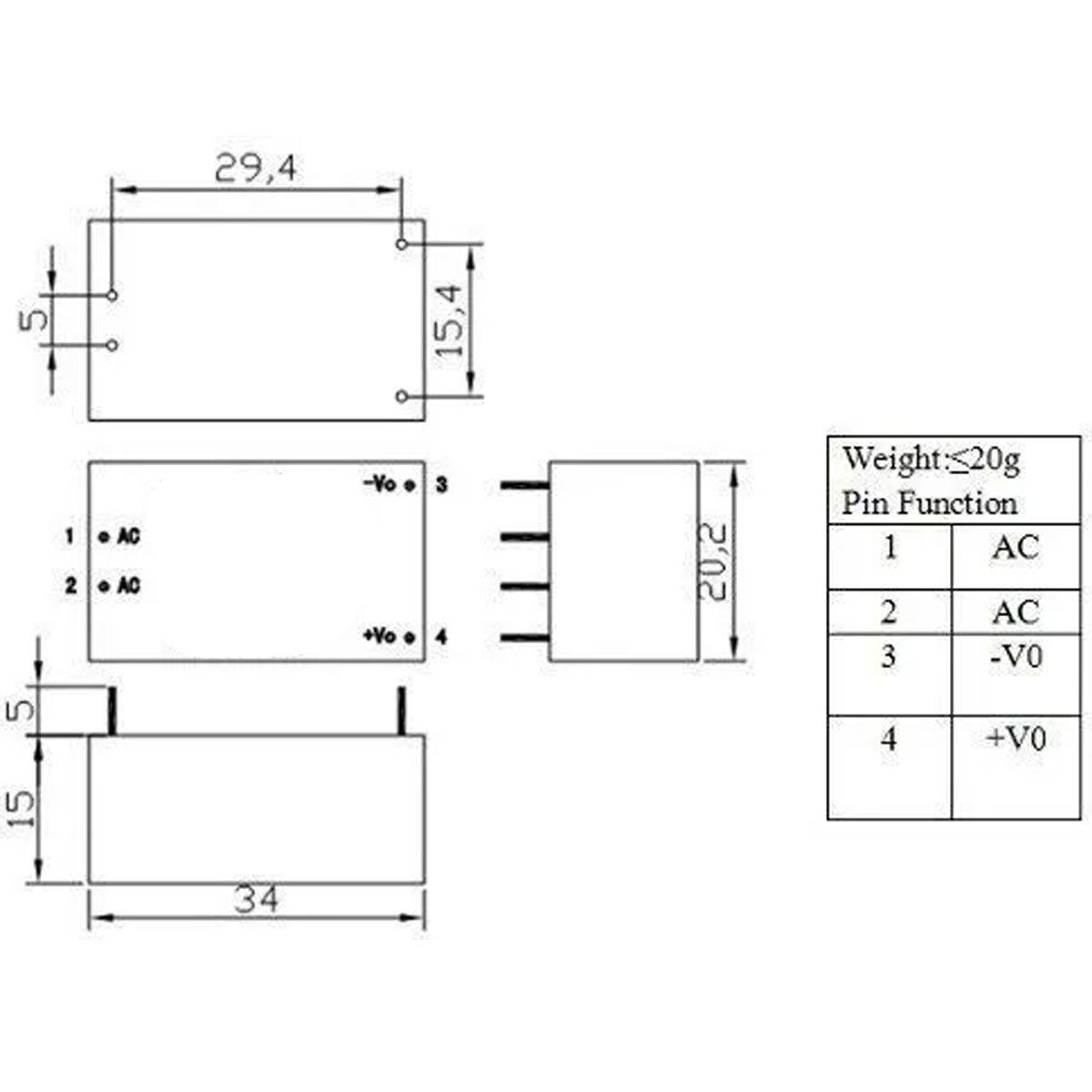 Mini Fonte Hi-link HLK-PM12 100~240VAC para 12V DC 250mA 3W