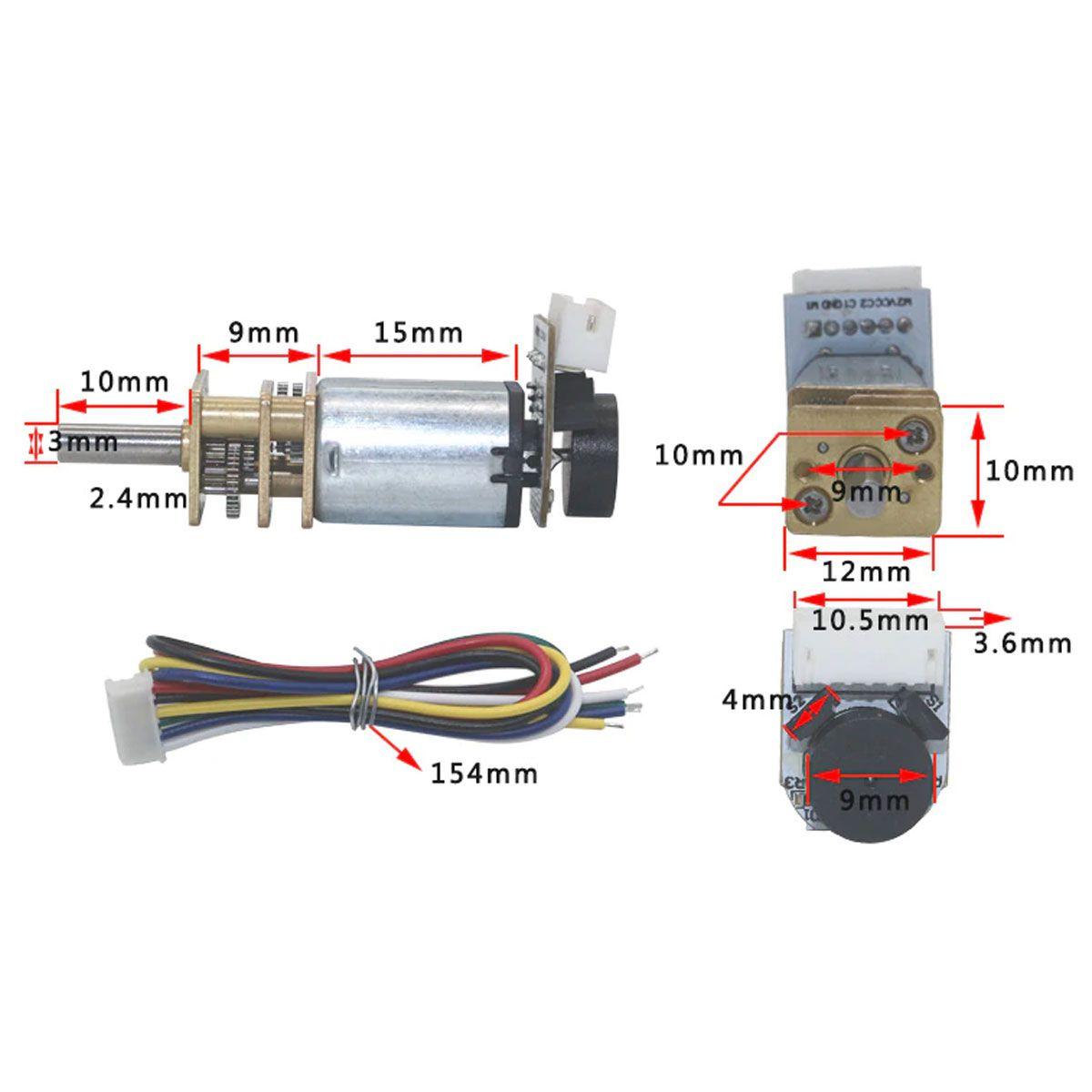 Mini Motor DC N20 com Caixa de Redução e Encoder - 12v 1100 RPM