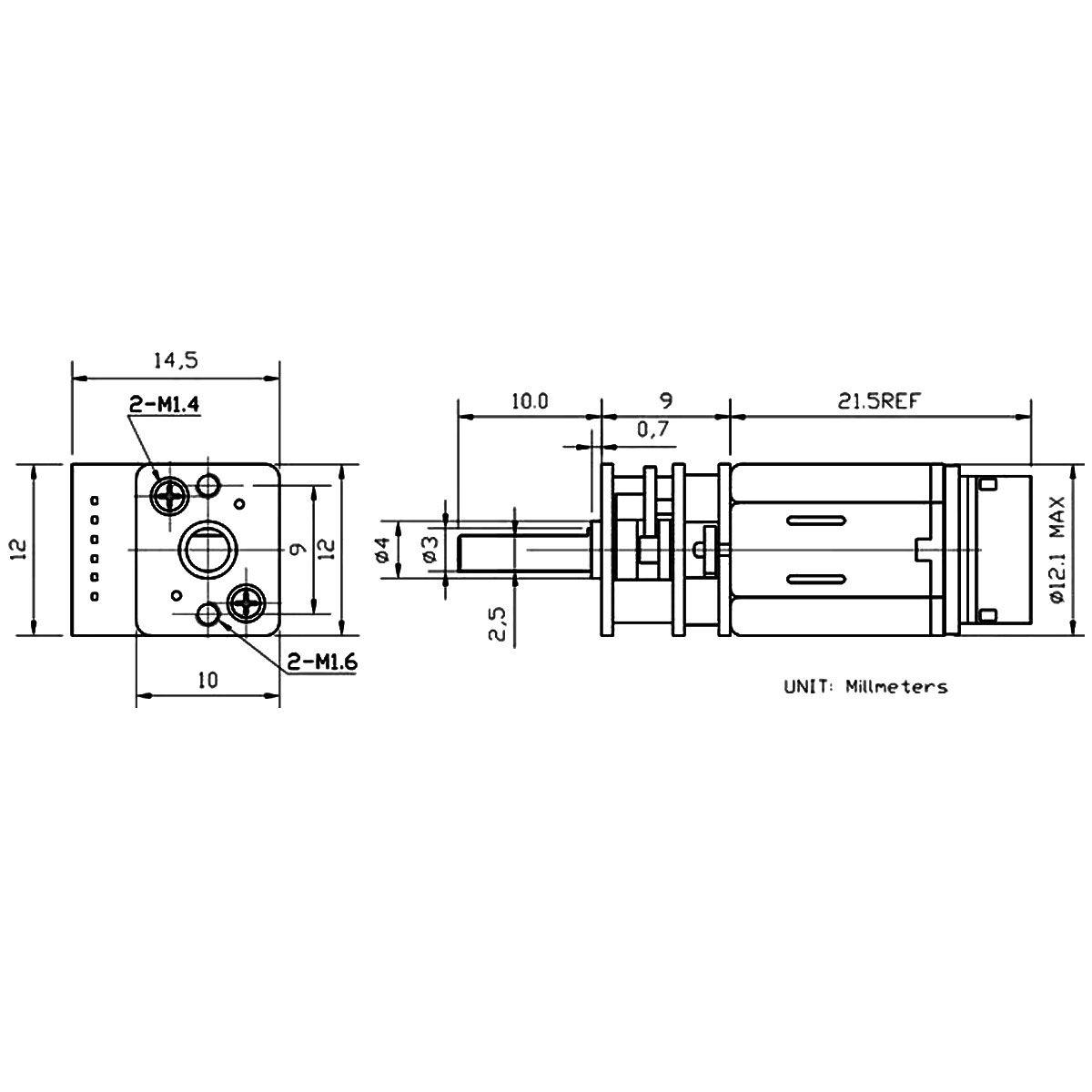 Mini Motor DC N20 com Caixa de Redução e Encoder - 12v 220 RPM