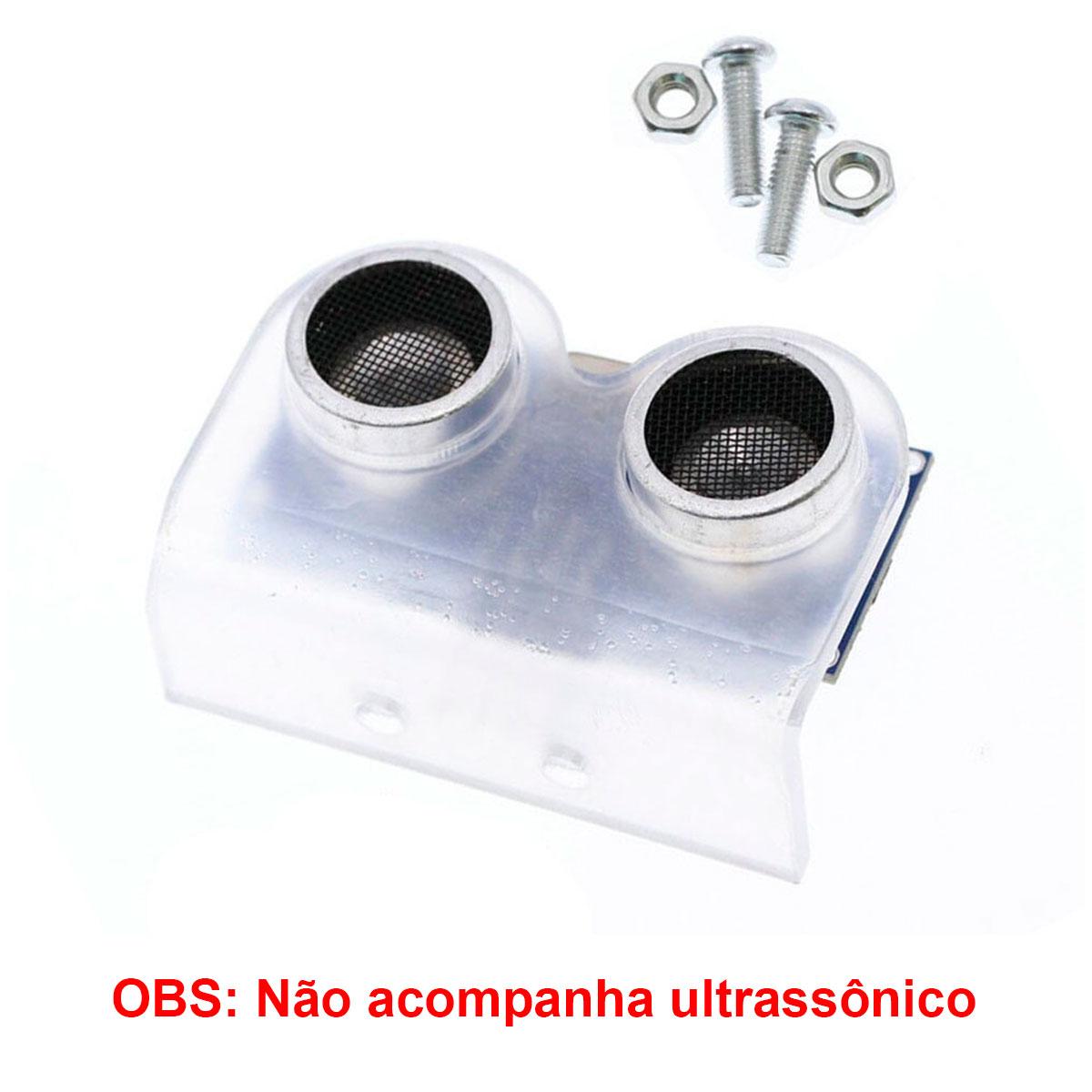 Mini Suporte Para Sensor Ultrassonico HC-SR04 em Acrílico Transparente