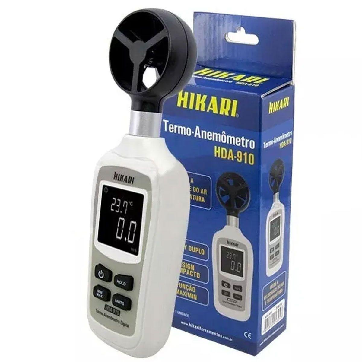 Mini Termo Anemômetro (Velocidade do ar e Temperatura) de -20°C a 60°C HDA-910 - HIKARI-21N220