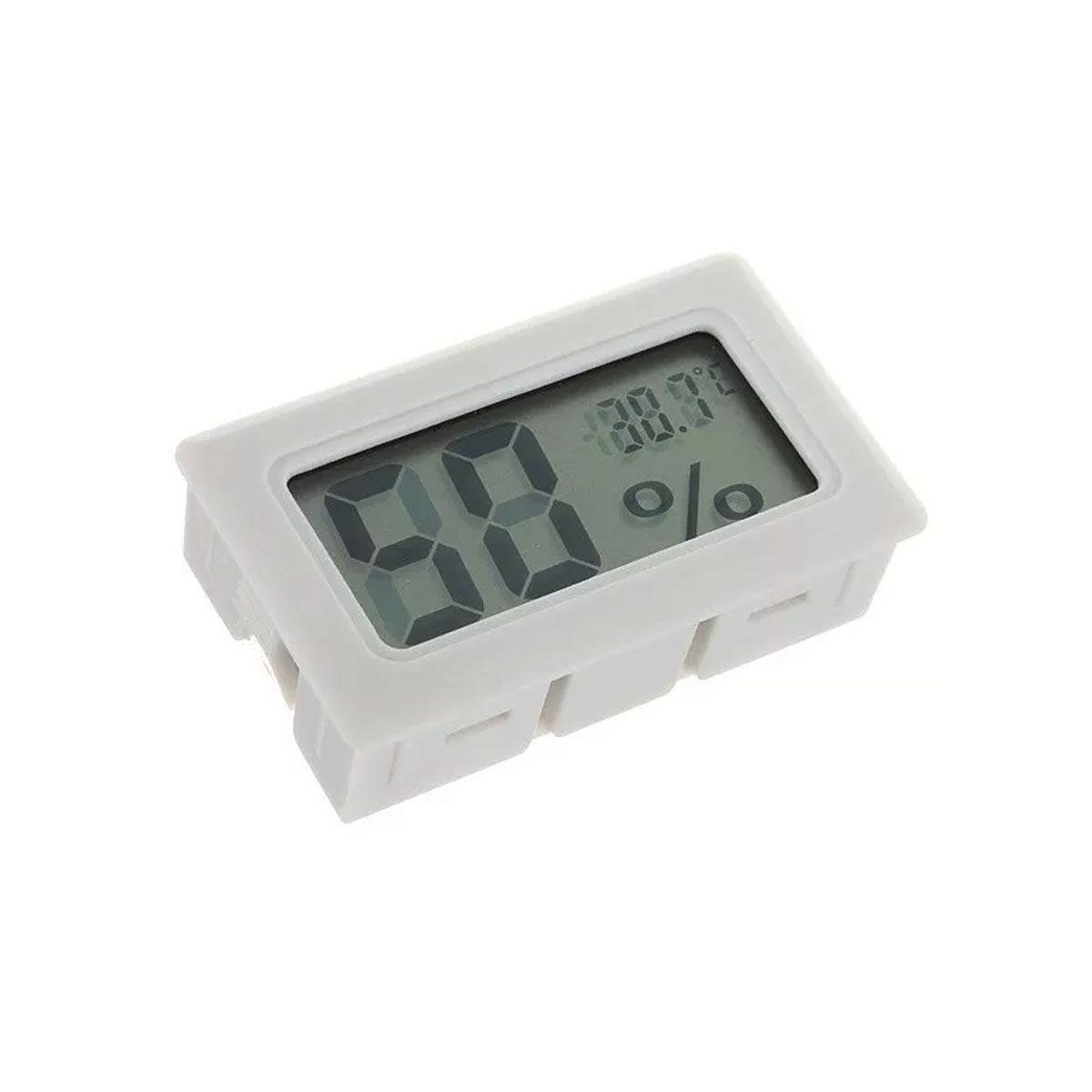 Mini Termômetro - Higrômetro Digital / Mede Temperatura e Umidade COM Bateria - Branca
