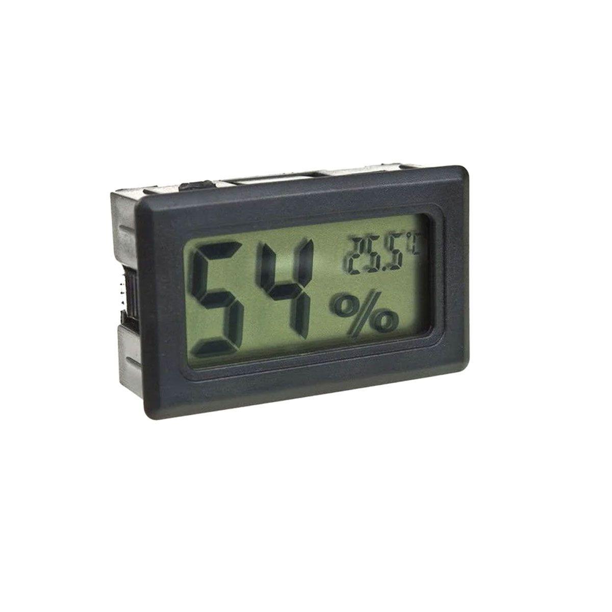 Mini Termômetro - Higrômetro Digital / Mede Temperatura e Umidade COM Baterias - Preto