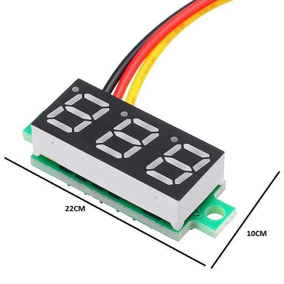 Mini Voltímetro Digital 0v a 100v | Display Vermelho