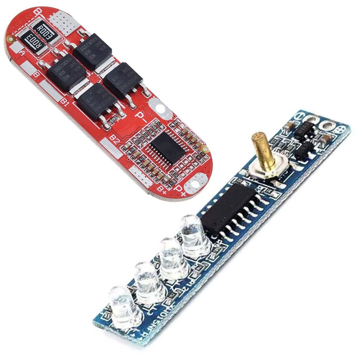 Módulo Carregador de Baterias 5s 25a com proteção BMS + Voltímetro