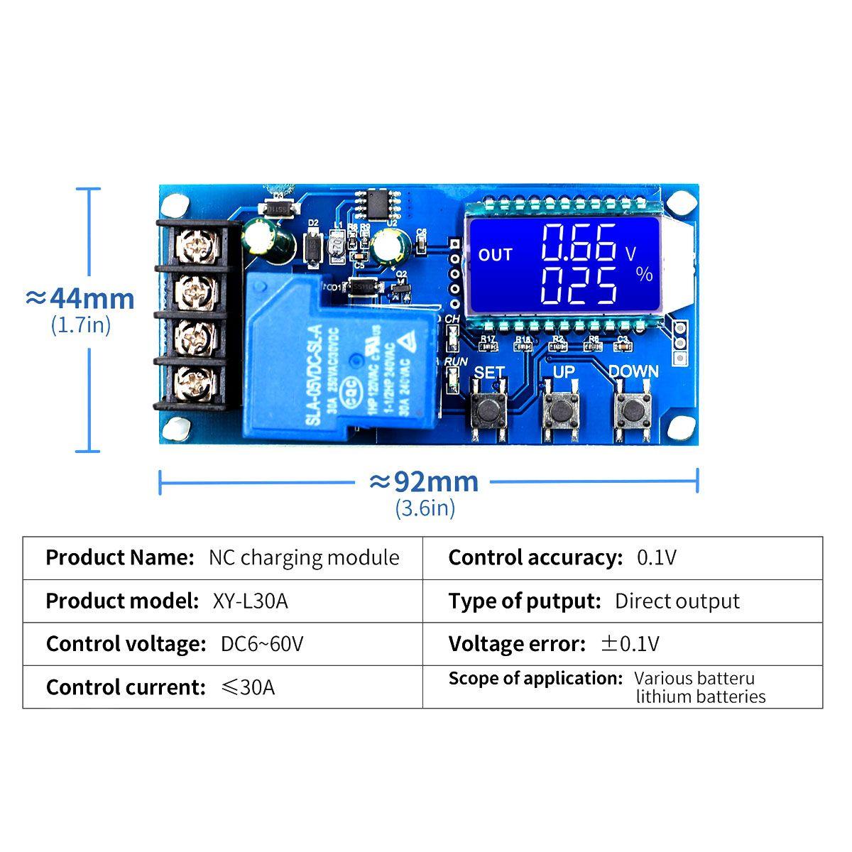 Módulo de Controle de Carga e descarga de Bateria 6v a 60v 30A - XY-L30A