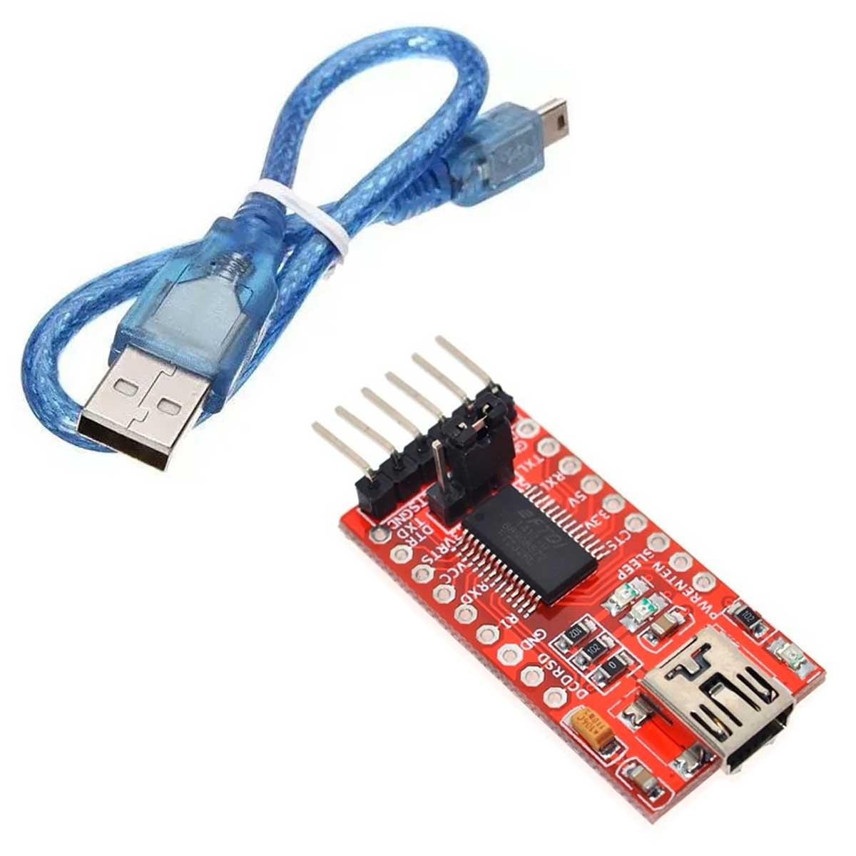 Módulo FTDI Conversor USB para TTL RS232 Serial + Cabo Compatível